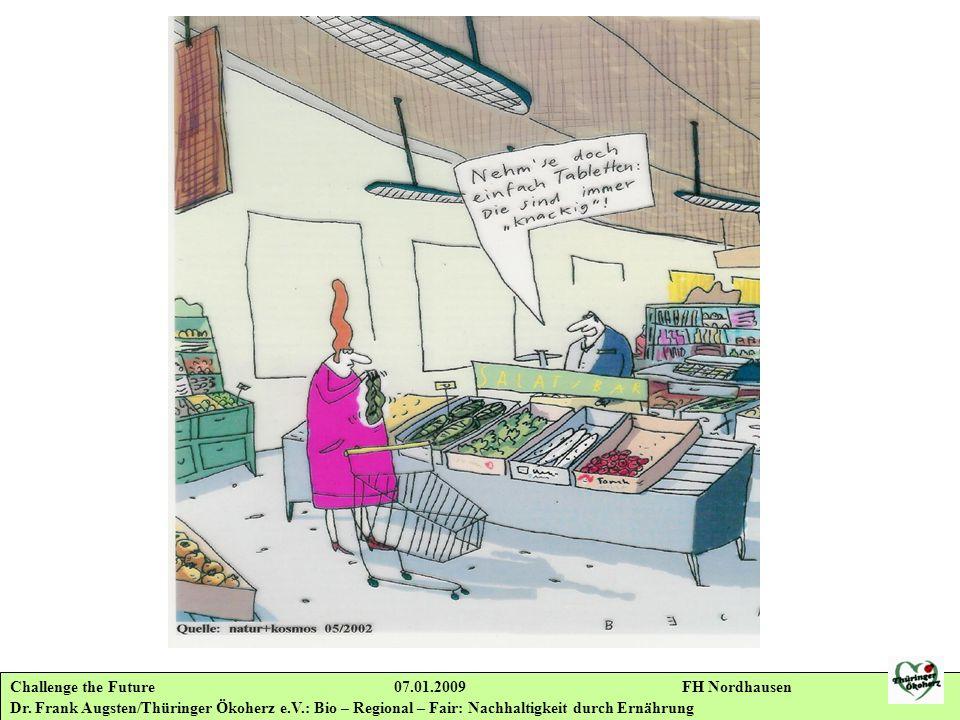 Challenge the Future 07.01.2009 FH Nordhausen Dr. Frank Augsten/Thüringer Ökoherz e.V.: Bio – Regional – Fair: Nachhaltigkeit durch Ernährung
