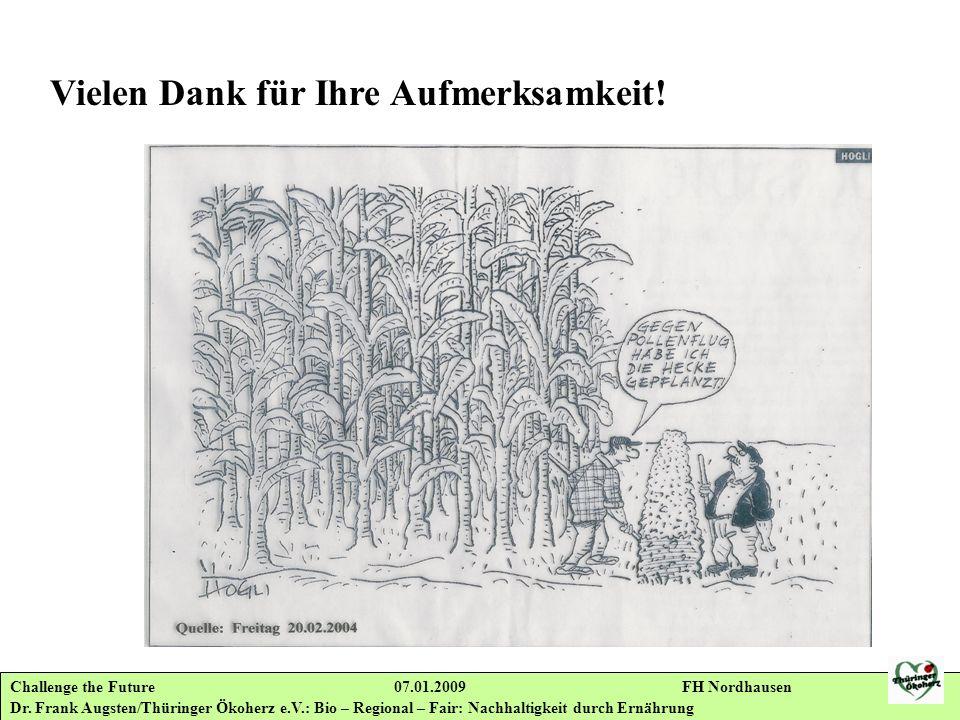 Challenge the Future 07.01.2009 FH Nordhausen Dr. Frank Augsten/Thüringer Ökoherz e.V.: Bio – Regional – Fair: Nachhaltigkeit durch Ernährung Vielen D