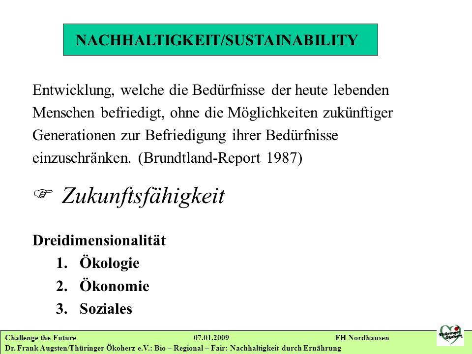 Challenge the Future 07.01.2009 FH Nordhausen Dr. Frank Augsten/Thüringer Ökoherz e.V.: Bio – Regional – Fair: Nachhaltigkeit durch Ernährung NACHHALT