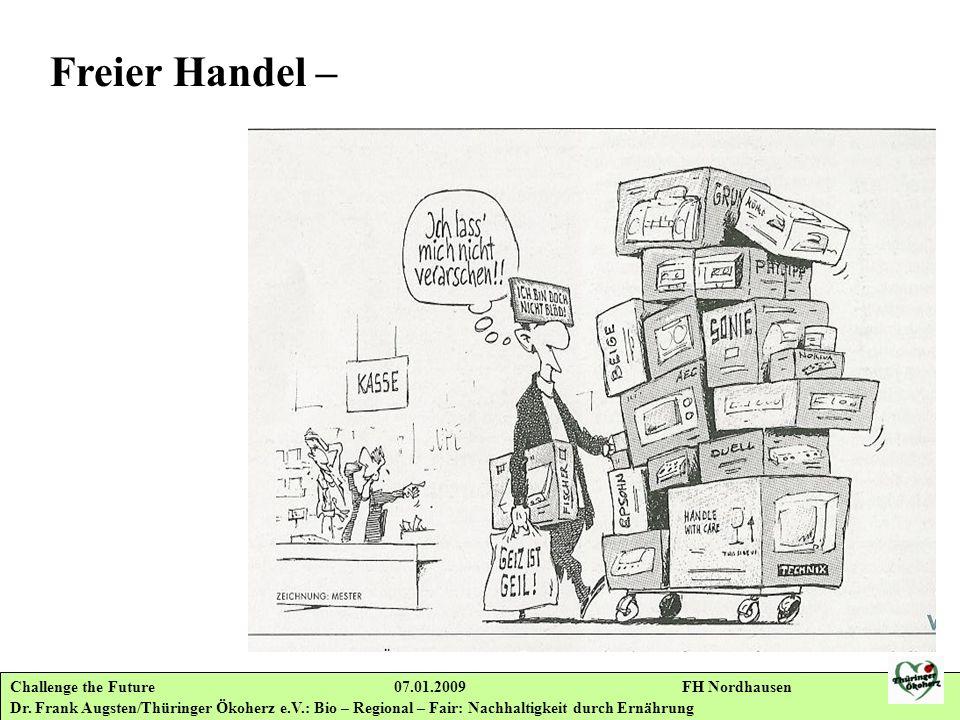 Challenge the Future 07.01.2009 FH Nordhausen Dr. Frank Augsten/Thüringer Ökoherz e.V.: Bio – Regional – Fair: Nachhaltigkeit durch Ernährung Freier H