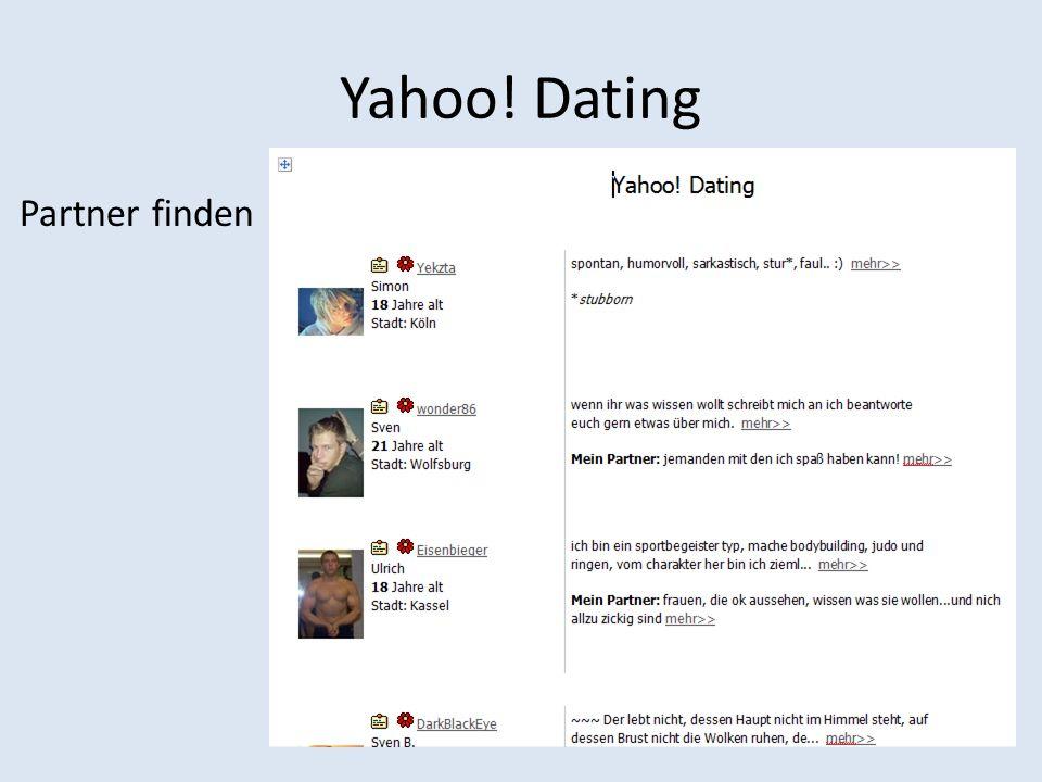 Yahoo! Dating Partner finden