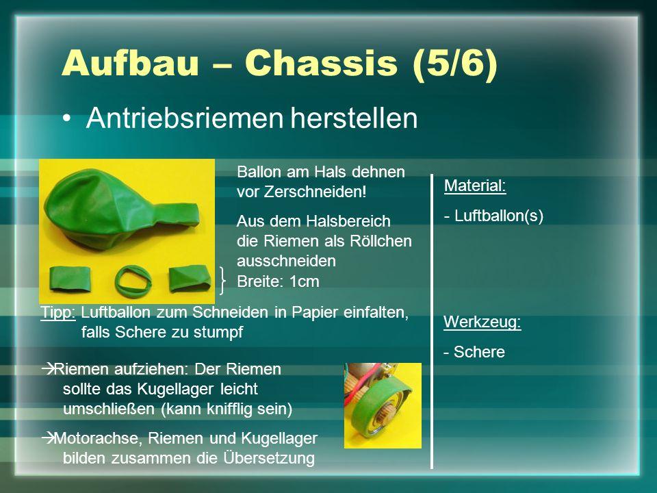 Aufbau – Chassis (5/6) Antriebsriemen herstellen Material: - Luftballon(s) Werkzeug: - Schere Tipp: Luftballon zum Schneiden in Papier einfalten, fall