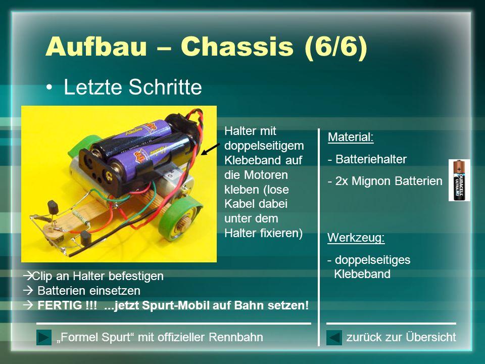 Aufbau – Chassis (6/6) Letzte Schritte Halter mit doppelseitigem Klebeband auf die Motoren kleben (lose Kabel dabei unter dem Halter fixieren) Clip an