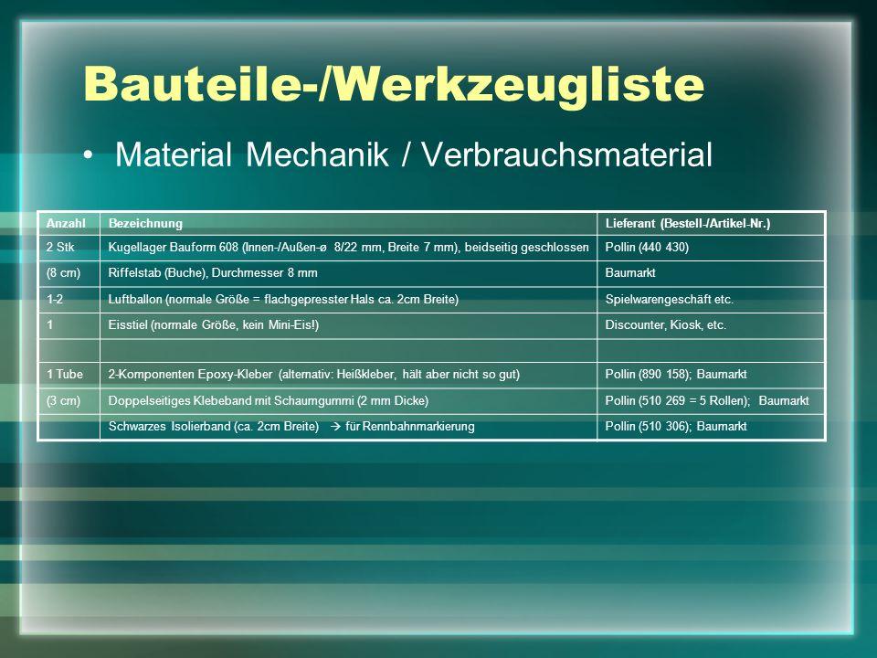 Bauteile-/Werkzeugliste Material Mechanik / Verbrauchsmaterial AnzahlBezeichnungLieferant (Bestell-/Artikel-Nr.) 2 StkKugellager Bauform 608 (Innen-/A