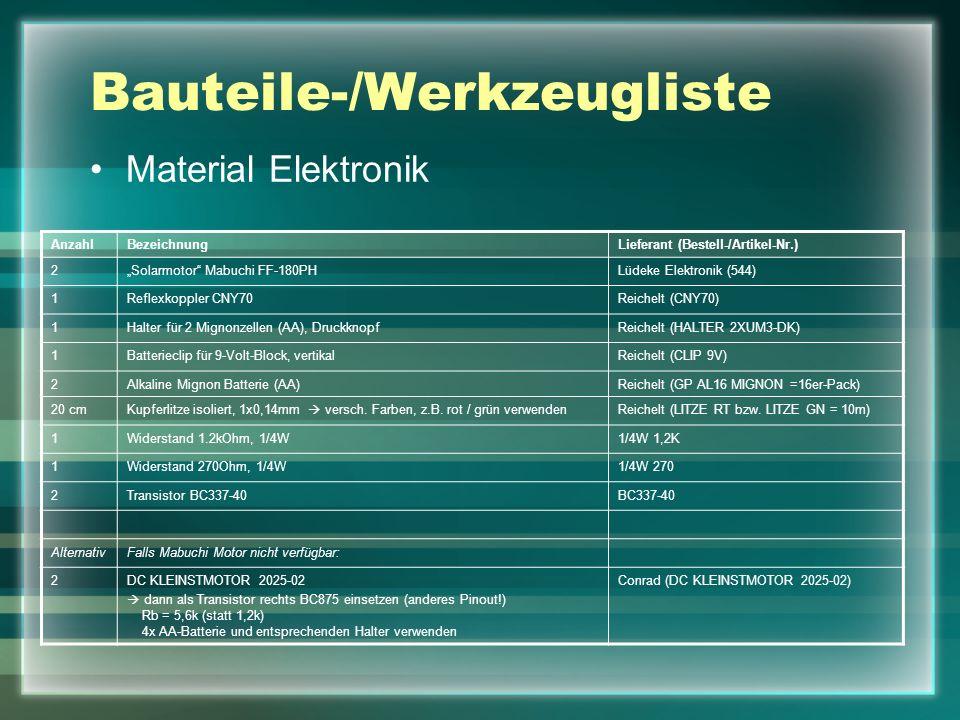 Bauteile-/Werkzeugliste Material Elektronik AnzahlBezeichnungLieferant (Bestell-/Artikel-Nr.) 2Solarmotor Mabuchi FF-180PHLüdeke Elektronik (544) 1Ref