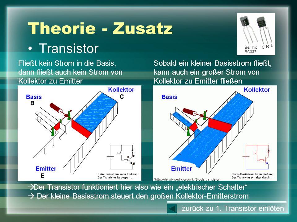 Theorie - Zusatz Transistor Fließt kein Strom in die Basis, dann fließt auch kein Strom von Kollektor zu Emitter Sobald ein kleiner Basisstrom fließt,
