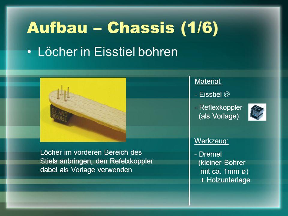 Aufbau – Chassis (1/6) Löcher in Eisstiel bohren Material: - Eisstiel - Reflexkoppler (als Vorlage) Werkzeug: - Dremel (kleiner Bohrer mit ca. 1mm ø)