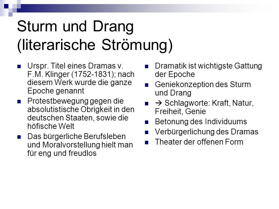 Sturm und Drang (literarische Strömung) Urspr. Titel eines Dramas v. F.M. Klinger (1752-1831); nach diesem Werk wurde die ganze Epoche genannt Protest
