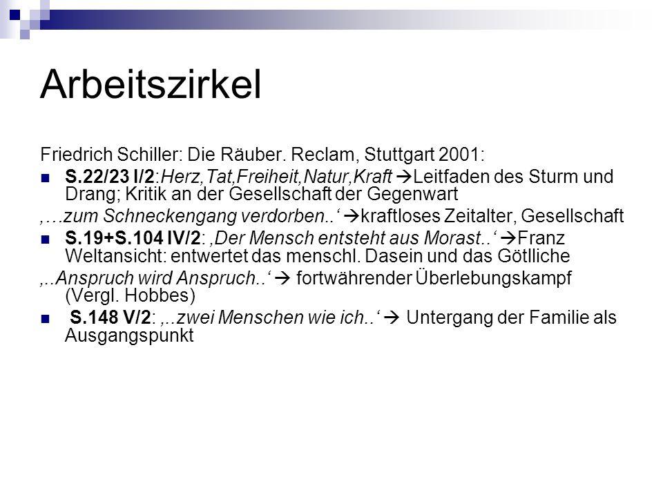 Arbeitszirkel Friedrich Schiller: Die Räuber. Reclam, Stuttgart 2001: S.22/23 I/2:Herz,Tat,Freiheit,Natur,Kraft Leitfaden des Sturm und Drang; Kritik