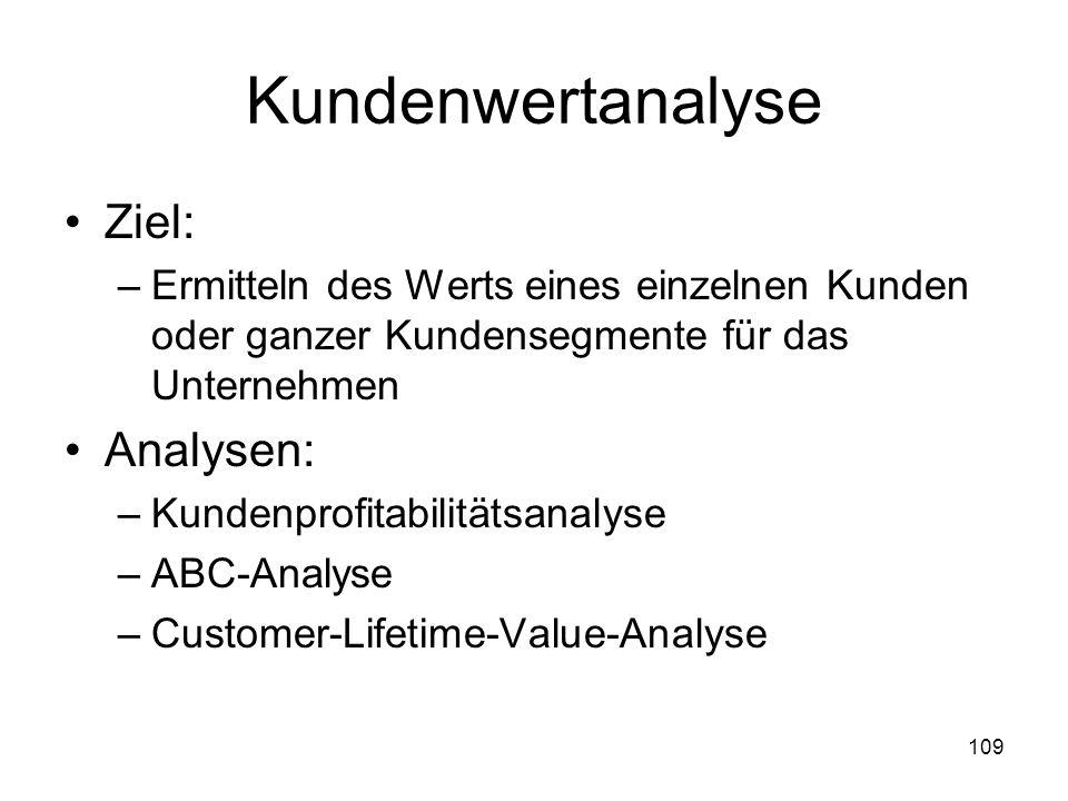 109 Kundenwertanalyse Ziel: –Ermitteln des Werts eines einzelnen Kunden oder ganzer Kundensegmente für das Unternehmen Analysen: –Kundenprofitabilität