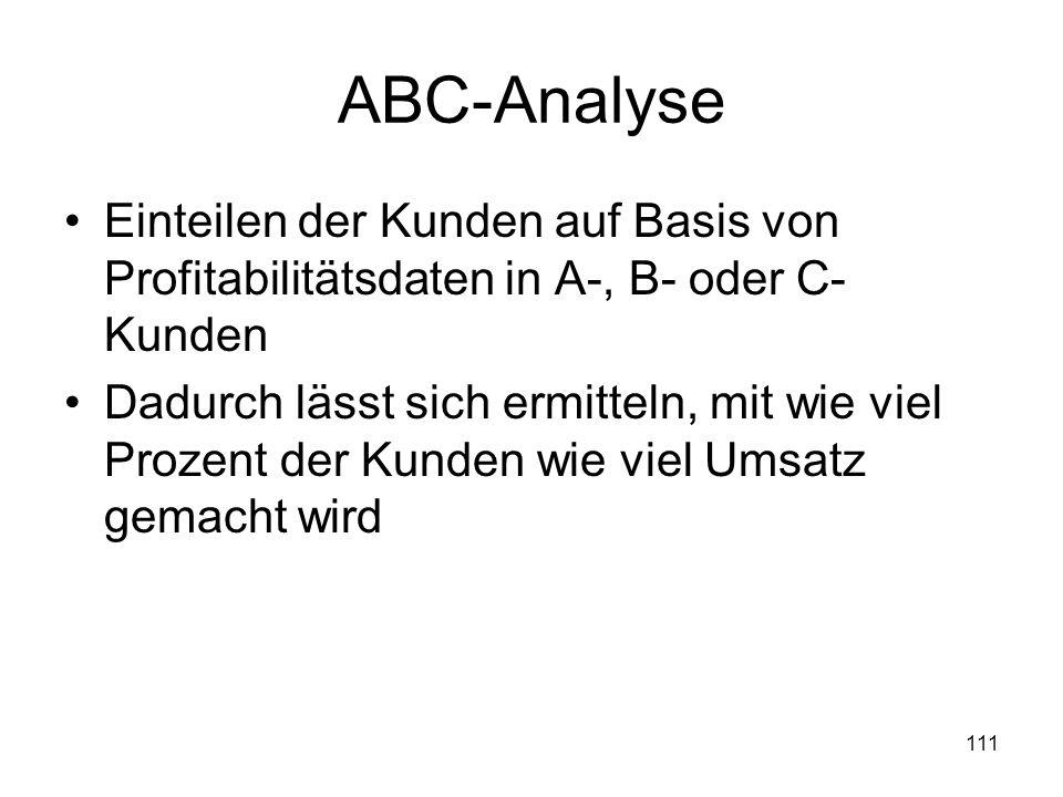 111 ABC-Analyse Einteilen der Kunden auf Basis von Profitabilitätsdaten in A-, B- oder C- Kunden Dadurch lässt sich ermitteln, mit wie viel Prozent de