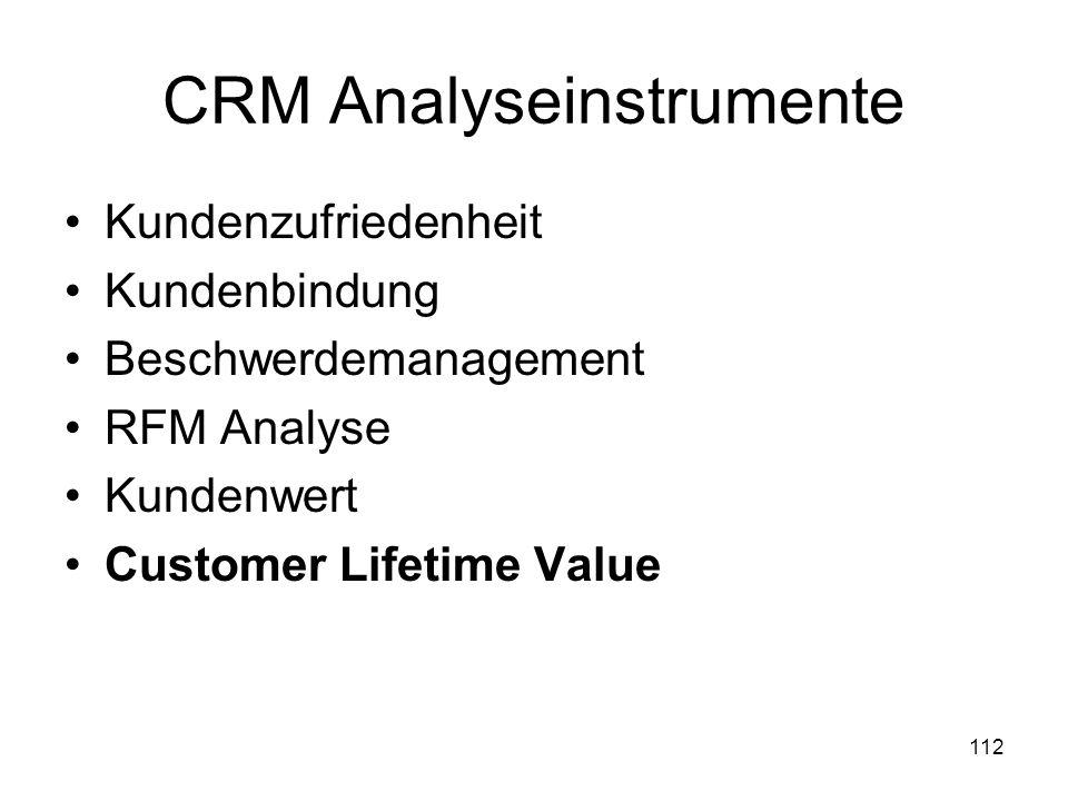 112 CRM Analyseinstrumente Kundenzufriedenheit Kundenbindung Beschwerdemanagement RFM Analyse Kundenwert Customer Lifetime Value