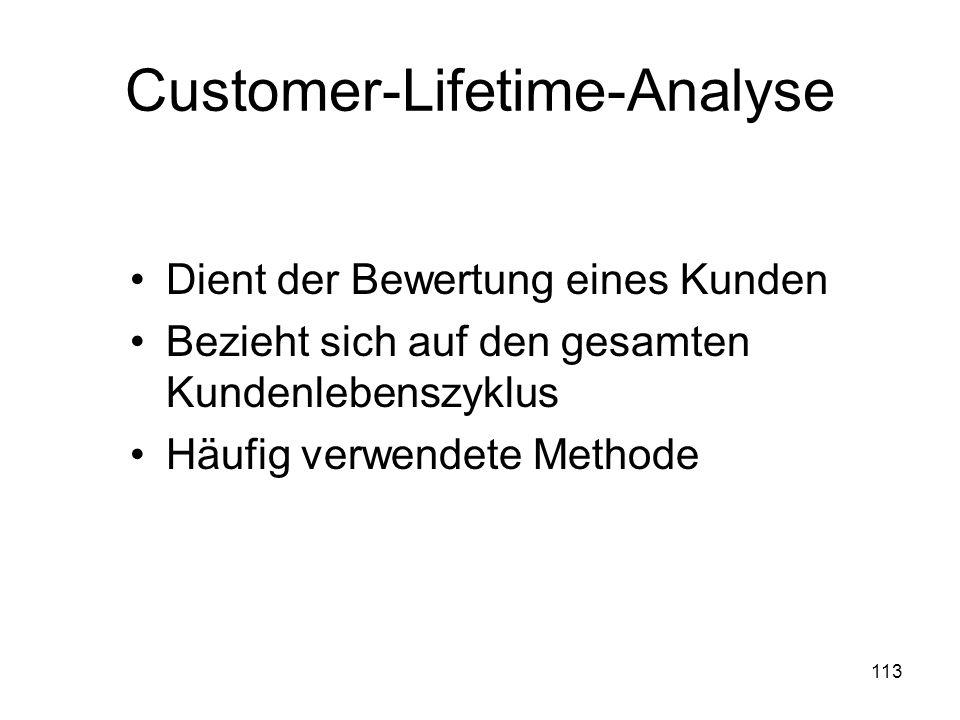 113 Customer-Lifetime-Analyse Dient der Bewertung eines Kunden Bezieht sich auf den gesamten Kundenlebenszyklus Häufig verwendete Methode