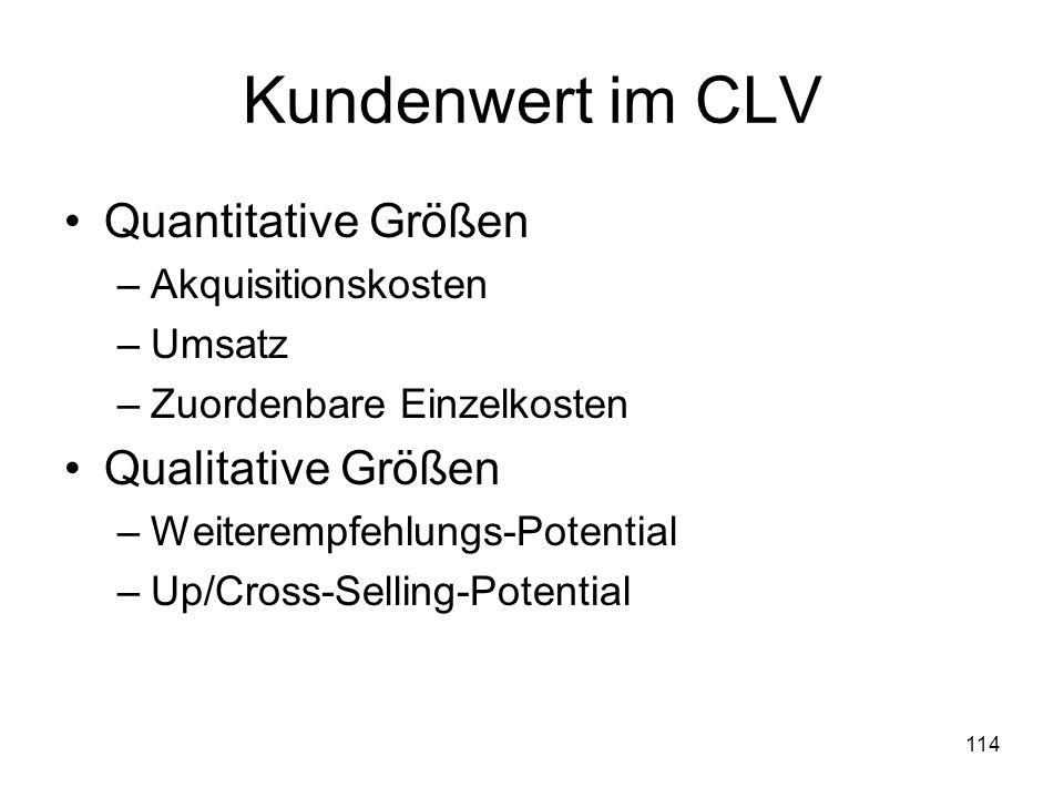114 Kundenwert im CLV Quantitative Größen –Akquisitionskosten –Umsatz –Zuordenbare Einzelkosten Qualitative Größen –Weiterempfehlungs-Potential –Up/Cr