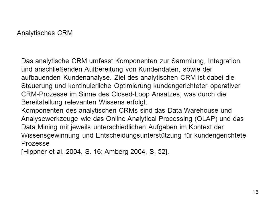 15 Das analytische CRM umfasst Komponenten zur Sammlung, Integration und anschließenden Aufbereitung von Kundendaten, sowie der aufbauenden Kundenanal