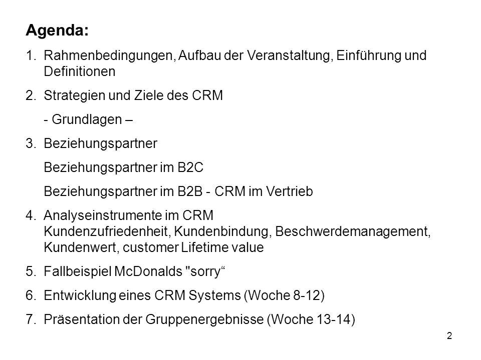 2 Agenda: 1.Rahmenbedingungen, Aufbau der Veranstaltung, Einführung und Definitionen 2.Strategien und Ziele des CRM - Grundlagen – 3.Beziehungspartner