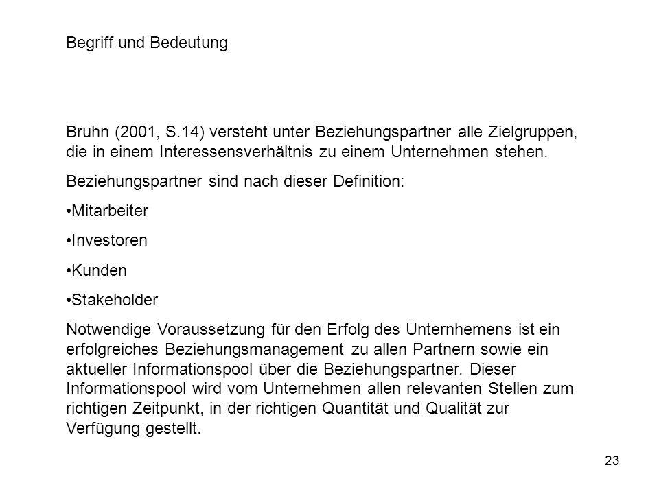 23 Begriff und Bedeutung Bruhn (2001, S.14) versteht unter Beziehungspartner alle Zielgruppen, die in einem Interessensverhältnis zu einem Unternehmen