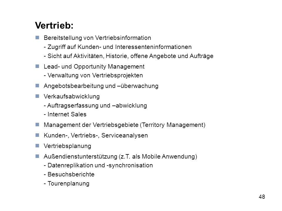48 Vertrieb: Bereitstellung von Vertriebsinformation - Zugriff auf Kunden- und Interessenteninformationen - Sicht auf Aktivitäten, Historie, offene An
