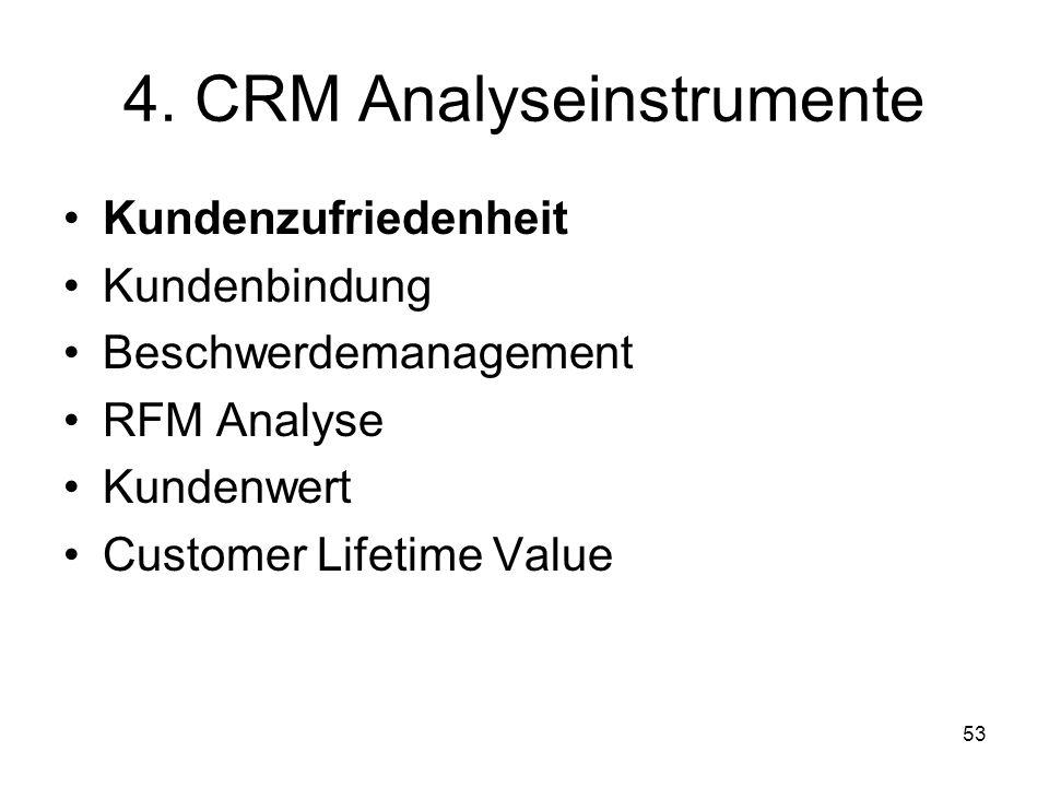 53 4. CRM Analyseinstrumente Kundenzufriedenheit Kundenbindung Beschwerdemanagement RFM Analyse Kundenwert Customer Lifetime Value