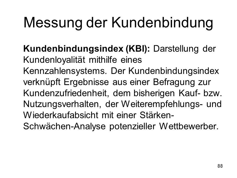 88 Messung der Kundenbindung Kundenbindungsindex (KBI): Darstellung der Kundenloyalität mithilfe eines Kennzahlensystems. Der Kundenbindungsindex verk
