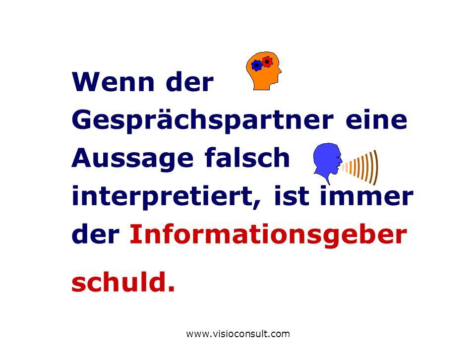 www.visioconsult.com Wenn der Gesprächspartner eine Aussage falsch interpretiert, ist immer der Informationsgeber schuld.