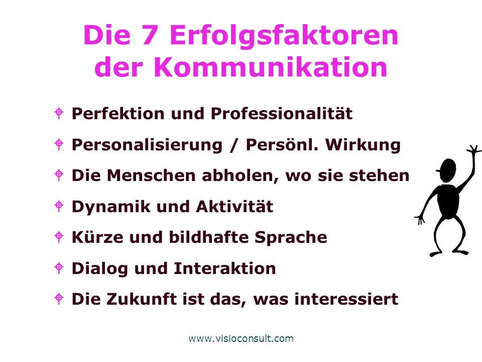 www.visioconsult.com Die 7 Erfolgsfaktoren der Kommunikation WPerfektion und Professionalität WPersonalisierung / Persönl. Wirkung WDie Menschen abhol