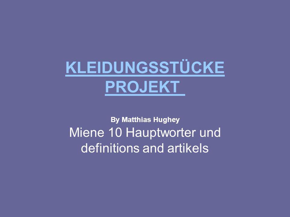 KLEIDUNGSSTÜCKE PROJEKT KLEIDUNGSSTÜCKE PROJEKT By Matthias Hughey Miene 10 Hauptworter und definitions and artikels