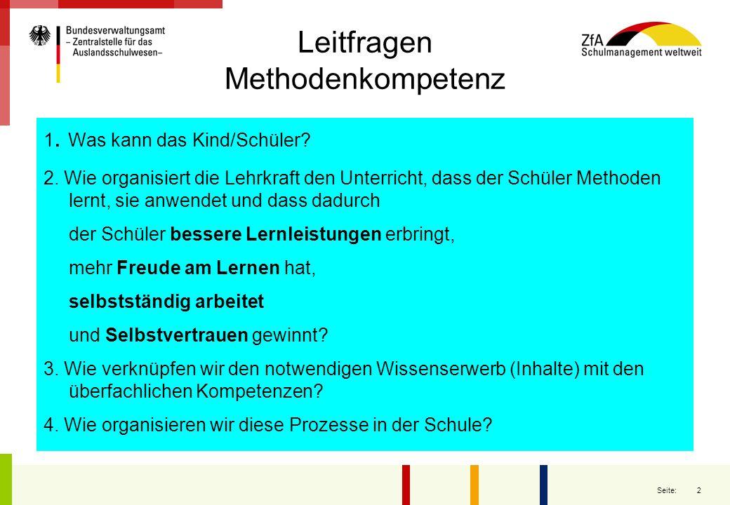 2 Seite: Leitfragen Methodenkompetenz 1. Was kann das Kind/Schüler? 2. Wie organisiert die Lehrkraft den Unterricht, dass der Schüler Methoden lernt,