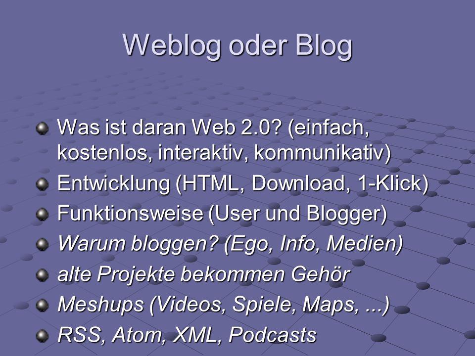 Weblog oder Blog Was ist daran Web 2.0? (einfach, kostenlos, interaktiv, kommunikativ) Entwicklung (HTML, Download, 1-Klick) Funktionsweise (User und