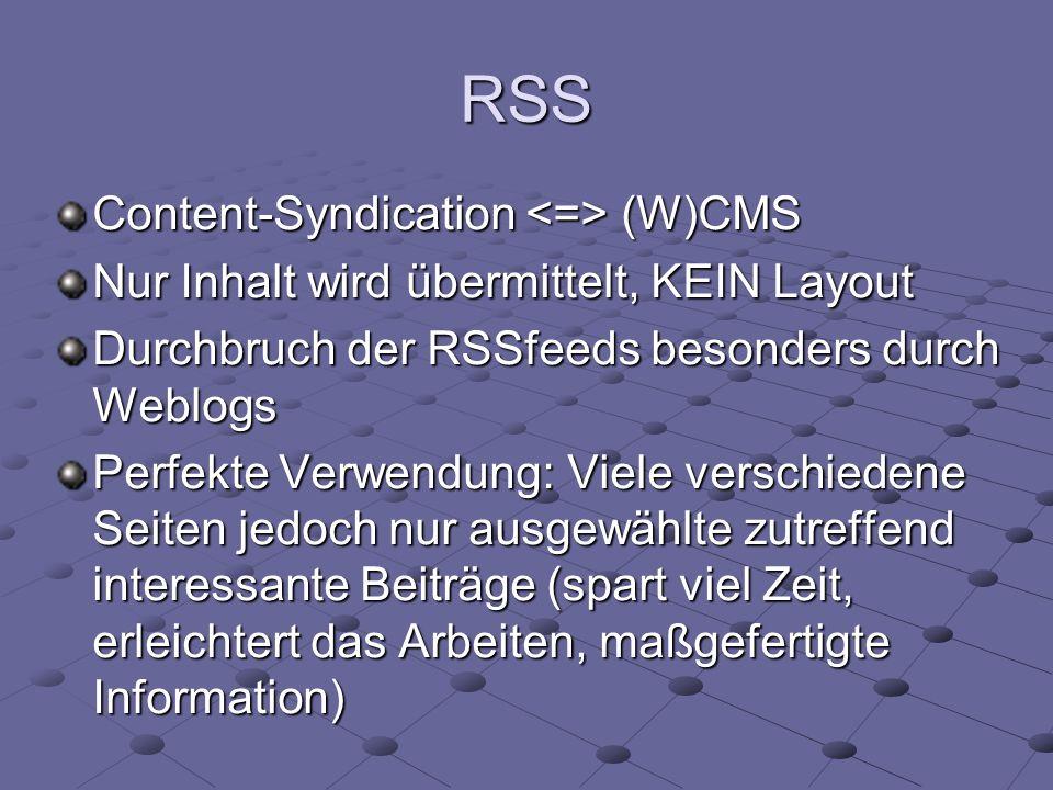 RSS Content-Syndication (W)CMS Nur Inhalt wird übermittelt, KEIN Layout Durchbruch der RSSfeeds besonders durch Weblogs Perfekte Verwendung: Viele ver