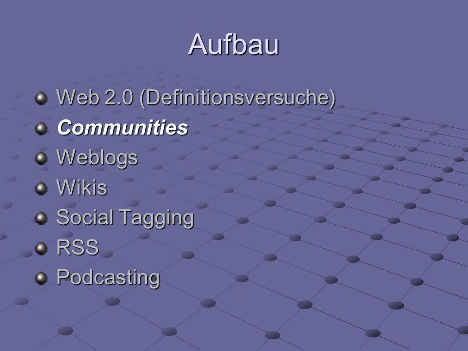 Aufbau Web 2.0 (Definitionsversuche) CommunitiesWeblogsWikis Social Tagging RSSPodcasting