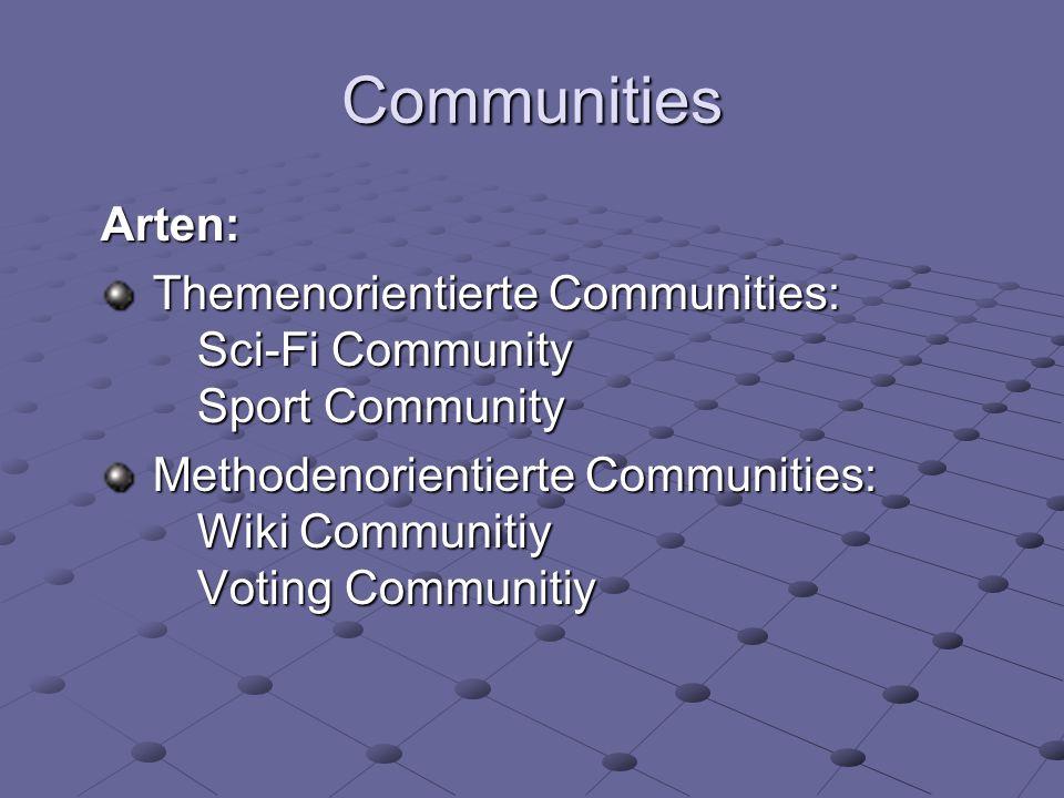 Communities Arten: Themenorientierte Communities: Sci-Fi Community Sport Community Methodenorientierte Communities: Wiki Communitiy Voting Communitiy