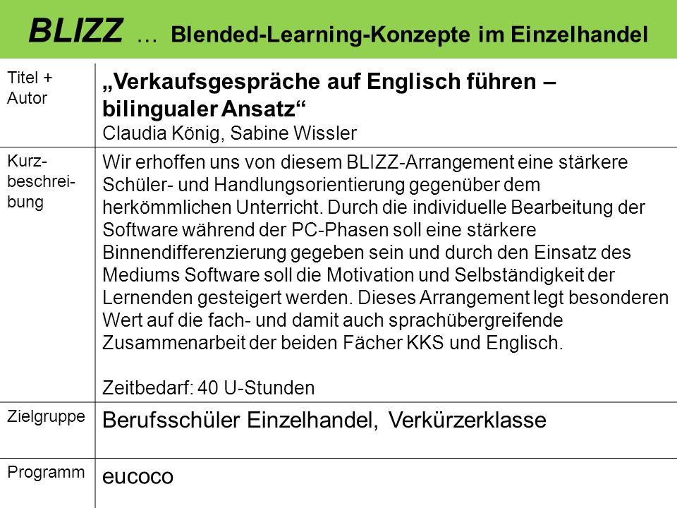 BLIZZ … Blended-Learning-Konzepte im Einzelhandel Titel + Autor Verkaufsgespräche auf Englisch führen – bilingualer Ansatz Claudia König, Sabine Wissl
