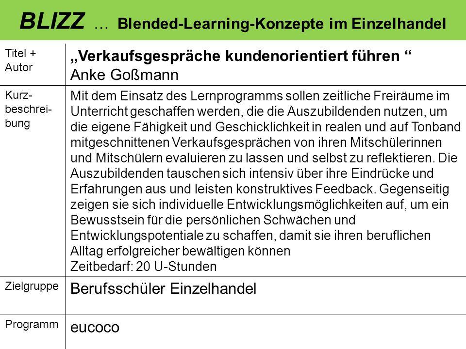 BLIZZ … Blended-Learning-Konzepte im Einzelhandel Titel + Autor Verkaufsgespräche kundenorientiert führen Anke Goßmann Kurz- beschrei- bung Mit dem Ei