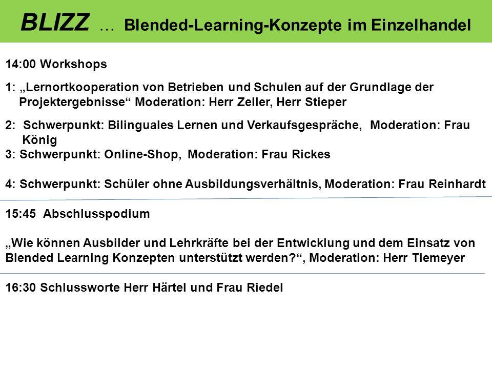 BLIZZ … Blended-Learning-Konzepte im Einzelhandel 14:00 Workshops 1: Lernortkooperation von Betrieben und Schulen auf der Grundlage der Projektergebni