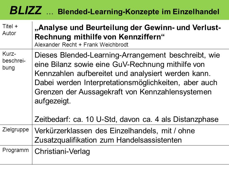 BLIZZ … Blended-Learning-Konzepte im Einzelhandel Titel + Autor Wir verkaufen keine Produkte, wir verkaufen Wünsche Daniel Berghoff Kurz- beschrei- bung Dieses Blended-Learning Arrangement beschreibt, wie Schüler der Höheren Handelsschule, die über kaum / keine Praxiserfahrung verfügen, durch den Einsatz der auf der EuCoCo-Selbstlern-CD- ROM enthalten Videosequenzen zum Thema Verkaufsgespräch, zum Führen professionellerer Verkaufsgespräche befähigt werden.