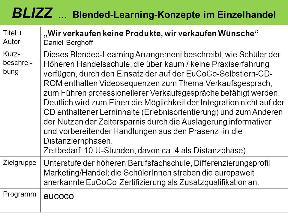 BLIZZ … Blended-Learning-Konzepte im Einzelhandel Titel + Autor Wir verkaufen keine Produkte, wir verkaufen Wünsche Daniel Berghoff Kurz- beschrei- bu
