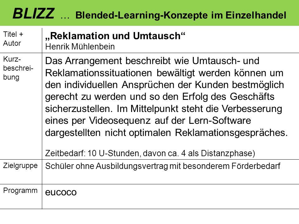 BLIZZ … Blended-Learning-Konzepte im Einzelhandel Titel + Autor Reklamation und Umtausch Henrik Mühlenbein Kurz- beschrei- bung Das Arrangement beschr