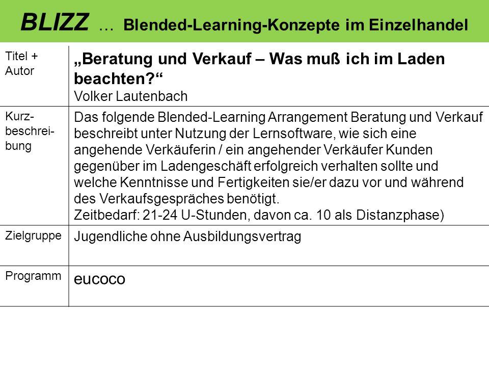 BLIZZ … Blended-Learning-Konzepte im Einzelhandel Titel + Autor Beratung und Verkauf – Was muß ich im Laden beachten? Volker Lautenbach Kurz- beschrei
