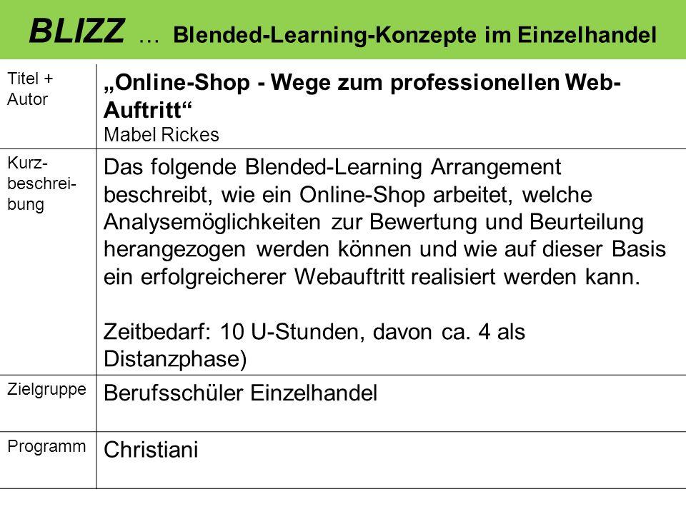BLIZZ … Blended-Learning-Konzepte im Einzelhandel Titel + Autor Verkaufsgespräche auf Englisch führen – bilingualer Ansatz Claudia König, Sabine Wissler Kurz- beschrei- bung Wir erhoffen uns von diesem BLIZZ-Arrangement eine stärkere Schüler- und Handlungsorientierung gegenüber dem herkömmlichen Unterricht.