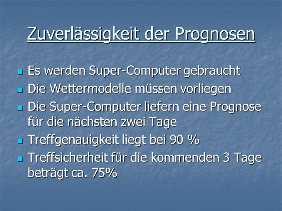 Zuverlässigkeit der Prognosen Es werden Super-Computer gebraucht Es werden Super-Computer gebraucht Die Wettermodelle müssen vorliegen Die Wettermodel