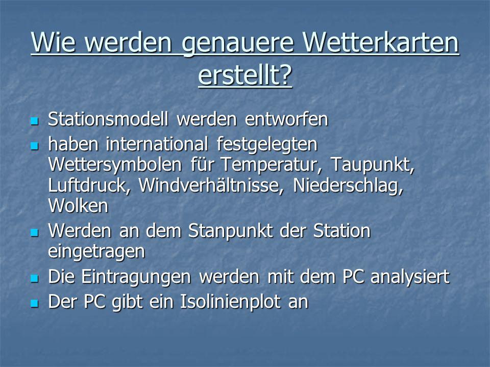 Wie werden genauere Wetterkarten erstellt? Stationsmodell werden entworfen Stationsmodell werden entworfen haben international festgelegten Wettersymb