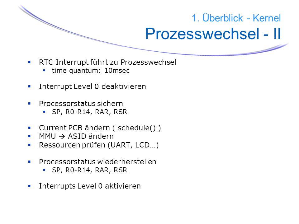 15 1. Überblick - Kernel Prozesswechsel - II RTC Interrupt führt zu Prozesswechsel time quantum: 10msec Interrupt Level 0 deaktivieren Processorstatus