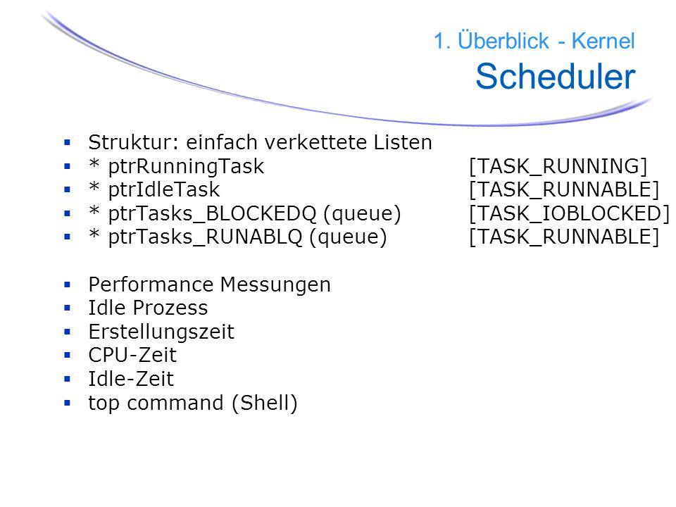 16 1. Überblick - Kernel Scheduler Struktur: einfach verkettete Listen * ptrRunningTask [TASK_RUNNING] * ptrIdleTask [TASK_RUNNABLE] * ptrTasks_BLOCKE