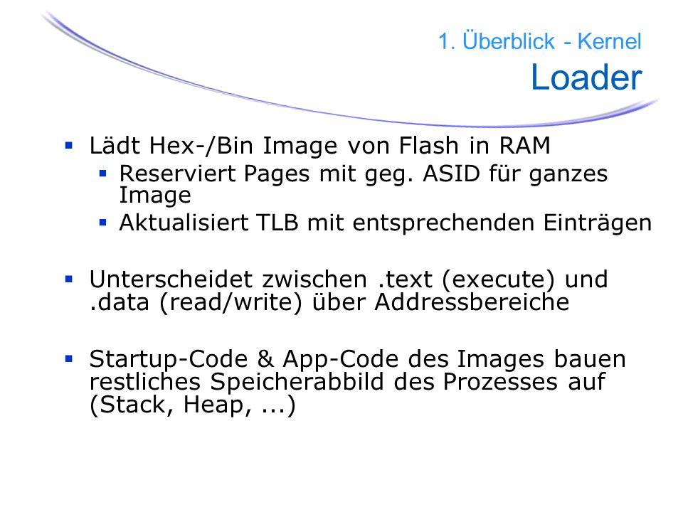 17 1. Überblick - Kernel Loader Lädt Hex-/Bin Image von Flash in RAM Reserviert Pages mit geg. ASID für ganzes Image Aktualisiert TLB mit entsprechend