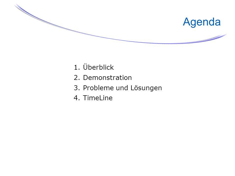 2 Agenda 1.Überblick 2.Demonstration 3.Probleme und Lösungen 4.TimeLine
