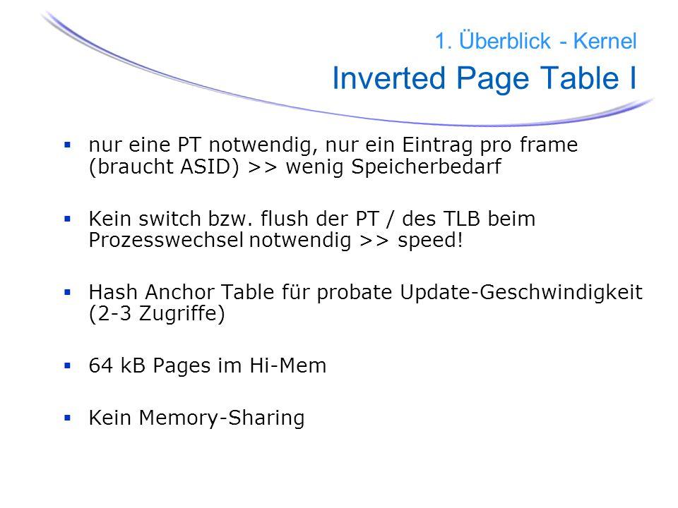 20 1. Überblick - Kernel Inverted Page Table I nur eine PT notwendig, nur ein Eintrag pro frame (braucht ASID) >> wenig Speicherbedarf Kein switch bzw