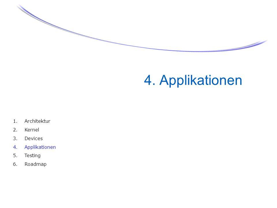 34 4. Applikationen 1.Architektur 2.Kernel 3.Devices 4.Applikationen 5.Testing 6.Roadmap
