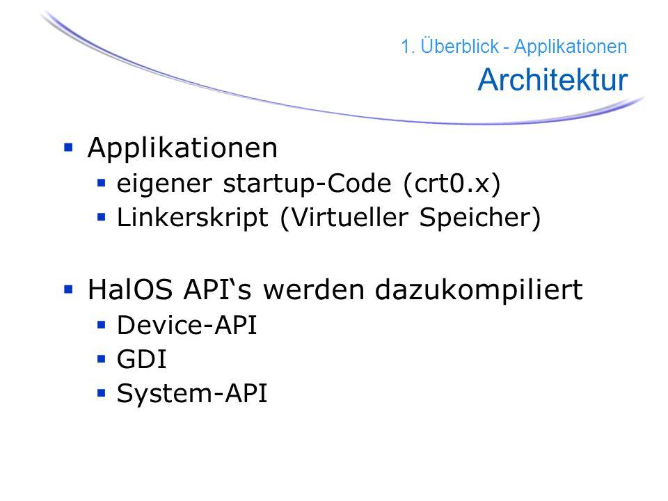 35 1. Überblick - Applikationen Architektur Applikationen eigener startup-Code (crt0.x) Linkerskript (Virtueller Speicher) HalOS APIs werden dazukompi