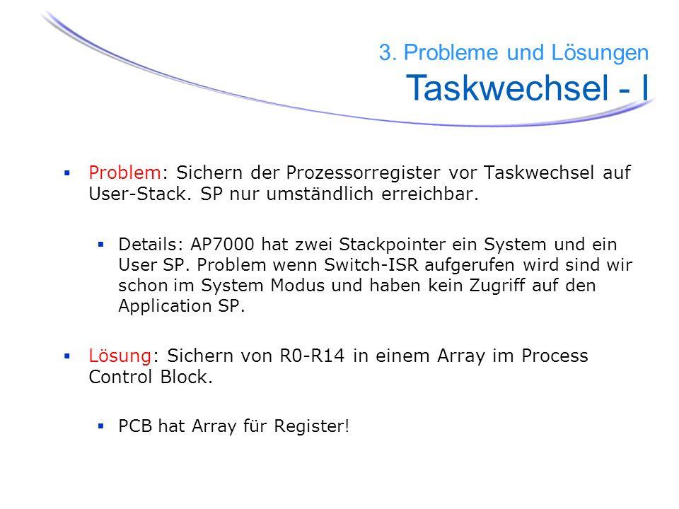 39 Problem: Sichern der Prozessorregister vor Taskwechsel auf User-Stack. SP nur umständlich erreichbar. Details: AP7000 hat zwei Stackpointer ein Sys